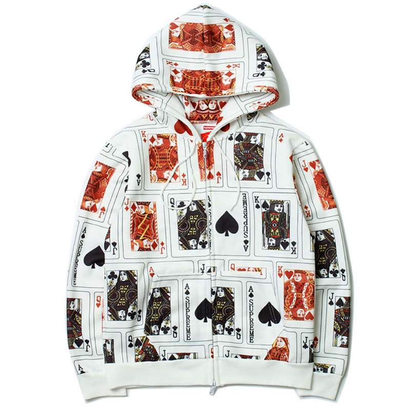 Supreme Court Cards Hooded Leather Jacket White