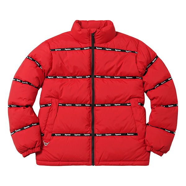 Supreme Logo Tape Puffy Jacket Red
