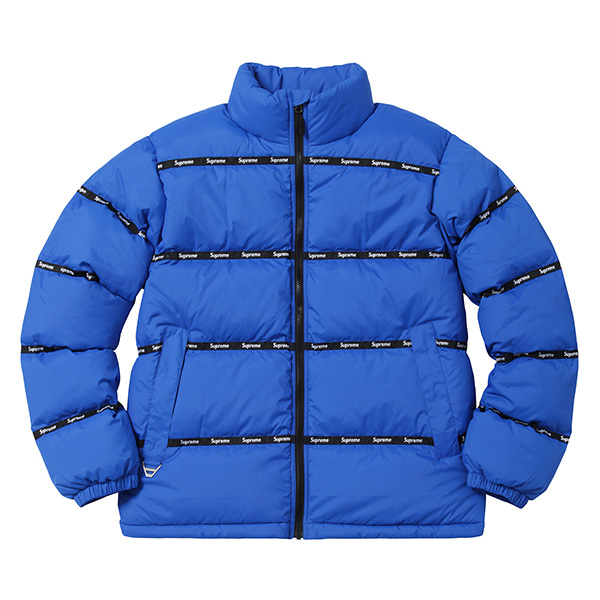 Supreme Logo Tape Puffy Jacket Blue