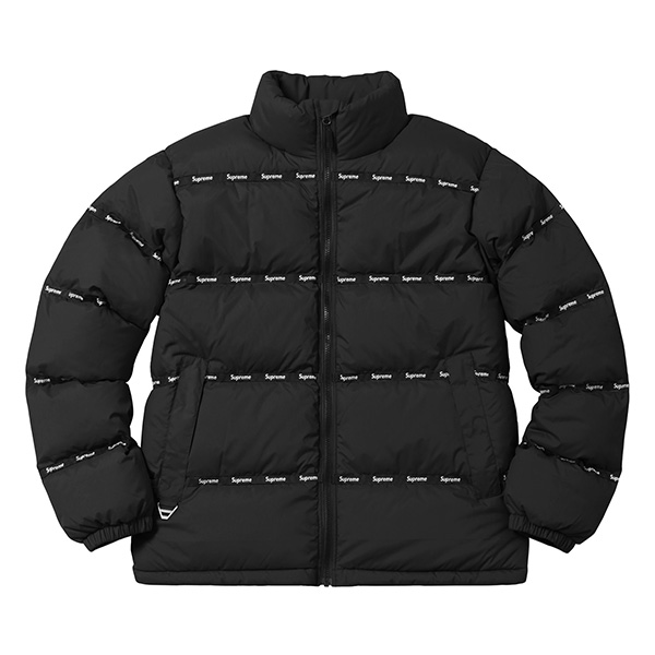 Supreme Logo Tape Puffy Jacket Black