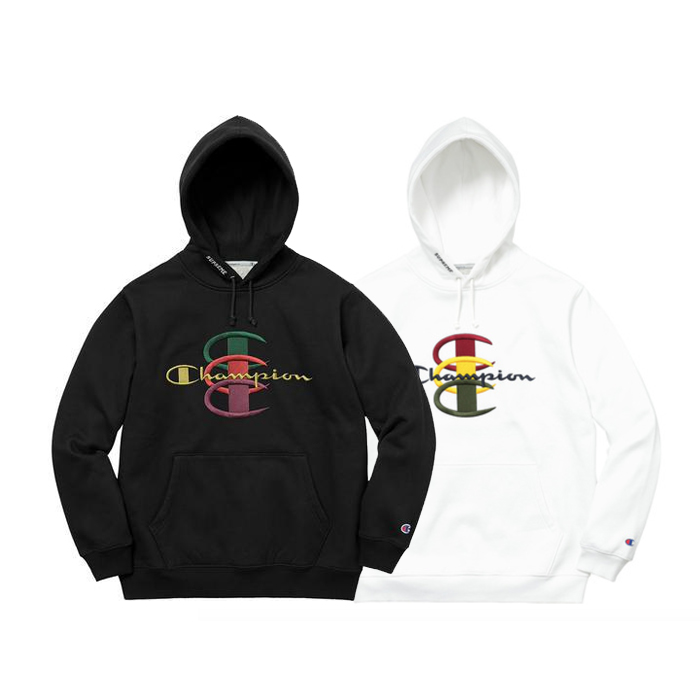 Supreme X Champion Stacked C Hooded Sweatshirt 2 Color