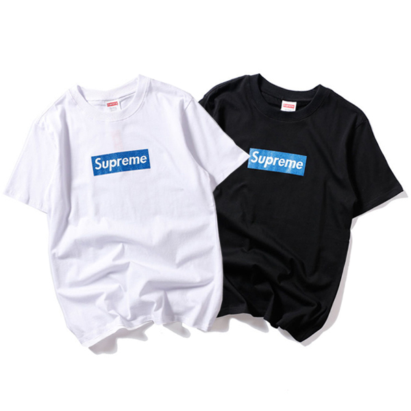 Supreme Glittering Blue Logo Box T-Shirt 2 Color