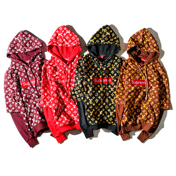 Supreme X Louis Vuitton Fake Two Pieces Hoodies 4 Color