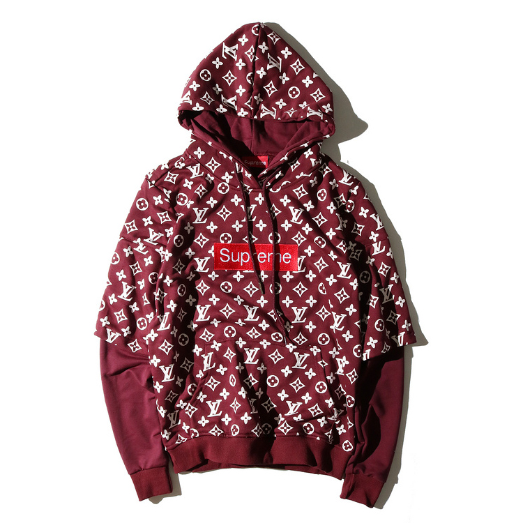 supreme x louis vuitton fake two pieces hoodies 4 color. Black Bedroom Furniture Sets. Home Design Ideas