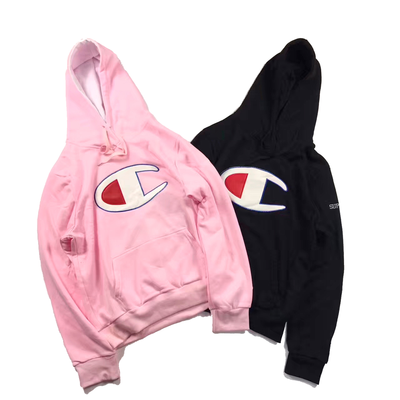 17SS Supreme X Champion Satin Logo Hooded 2 Color