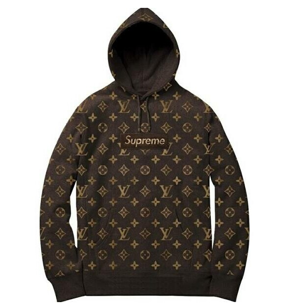 Hot Supreme X Louis Vuitton Hooded Sweatshirt Coffee