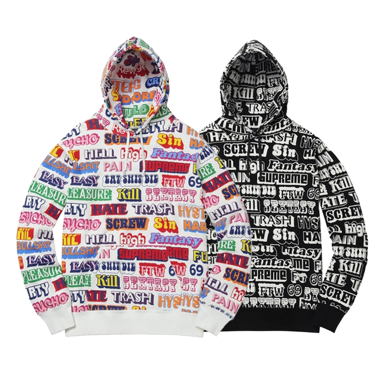 17FW Supreme X Hysteric Glamour Text Hooded Sweatshirt 2 Color