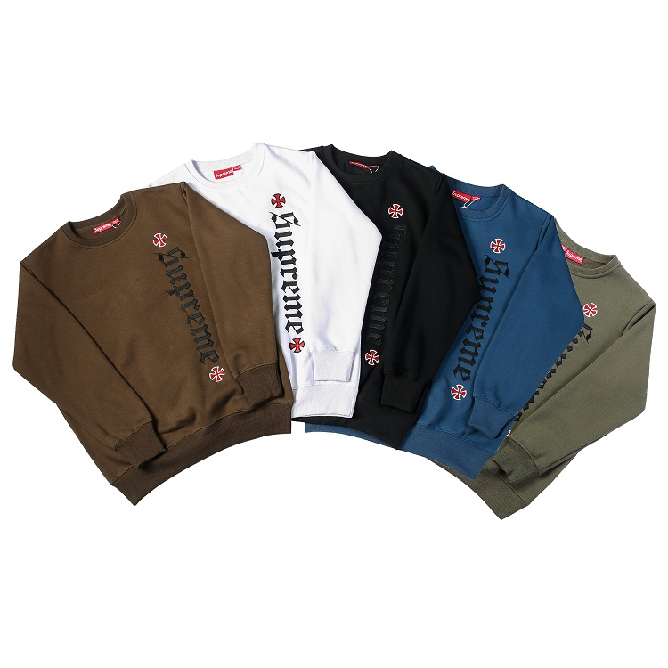 17FW Supreme X Independent Embroidered Logo Crewneck 5 Color