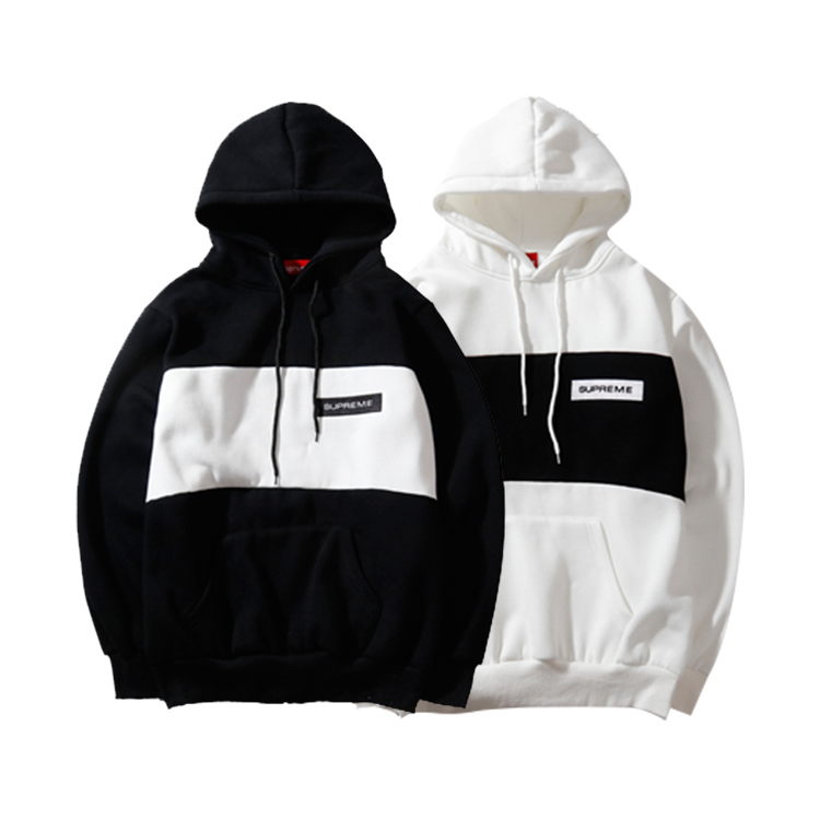 Supreme Contrast Color Embroidered Box Logo Hooded Sweatshirt 2 Color