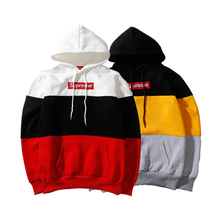 Supreme Trichromatic Color Embroidered Box Logo Hooded Sweatshirt 2 Color