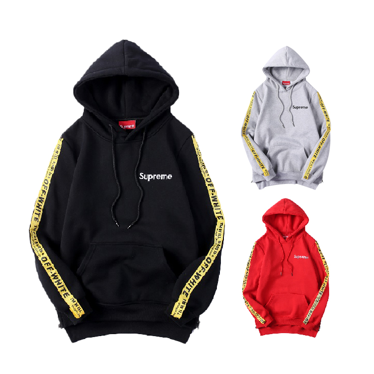 Supreme X Off-White Sleeves Logo Hooded Sweatshirt 3 Color