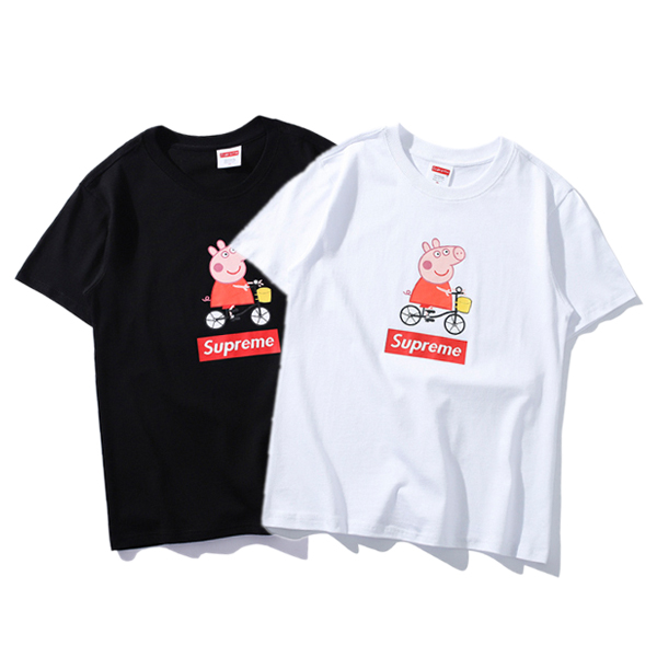 18SS Supreme Peppa Pig Ride A Bike Tシャツ 2色