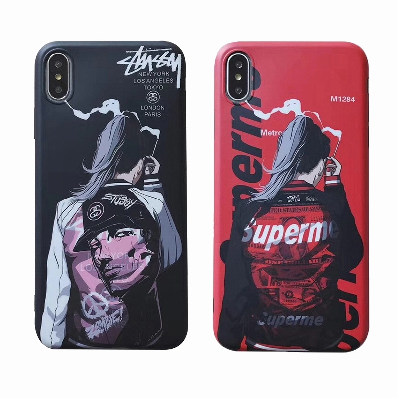 Supreme X Stussy iPhone XR 、X、XS、XS Max、8、8 Plus、7、7 Plus、iPhone6/6s、6/6sPlusケース 2色