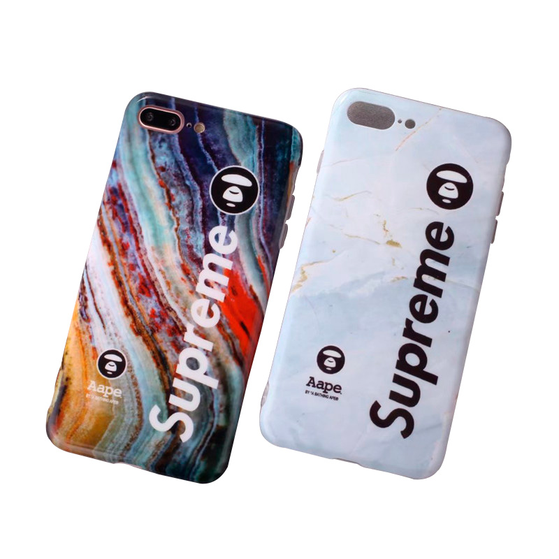 Supreme X Aape Iphone6/6s、6/6sPlus、7、7 Plus、8、8 Plus、IPhoneX Marble Pattern ケース 2色