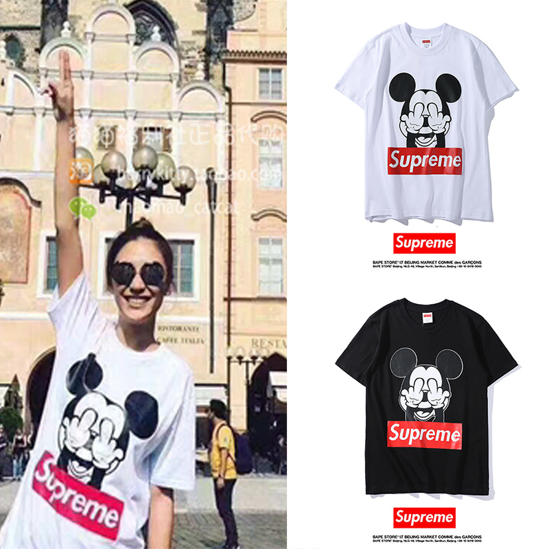 Supreme Mickey pattern Tシャツ  2色