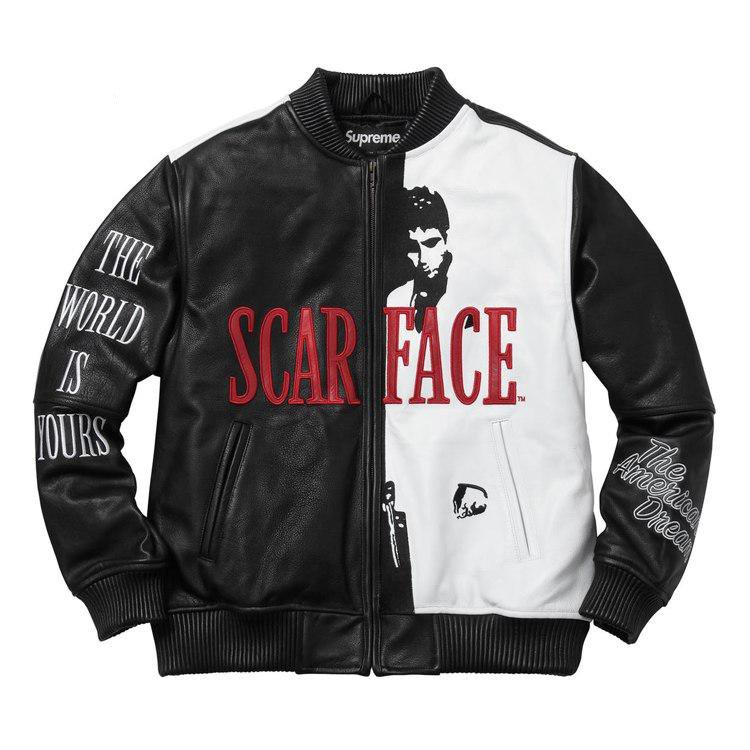 17FW Supreme (シュプリーム) Scarface Embroidered Leather ジャケット