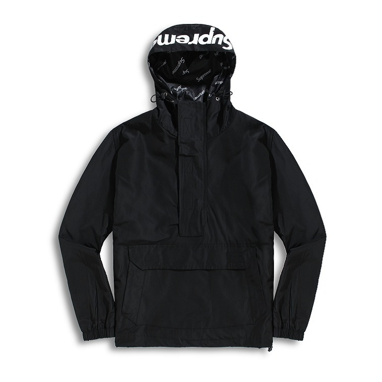 17FW Supreme (シュプリーム) Hooded Logo Half Zip Pullover ブラック