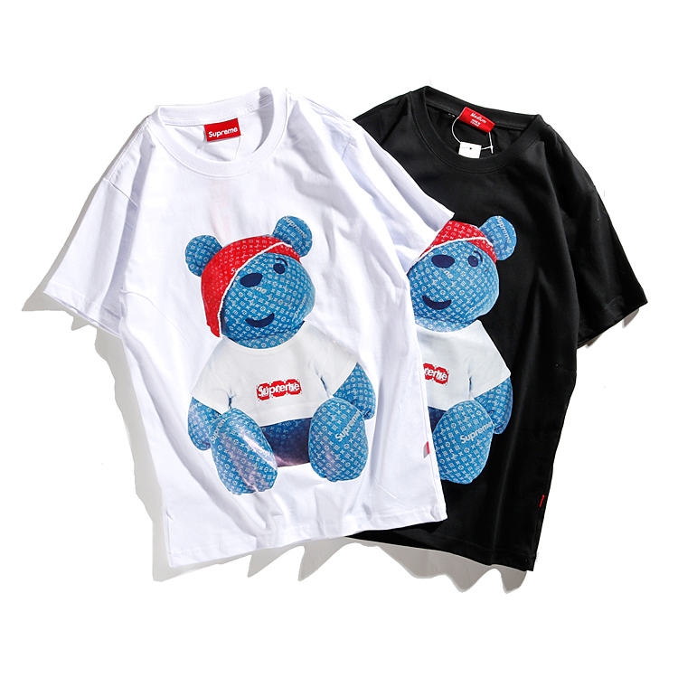 Supreme x Louis Vuitton Denim Bear Tシャツ 2色