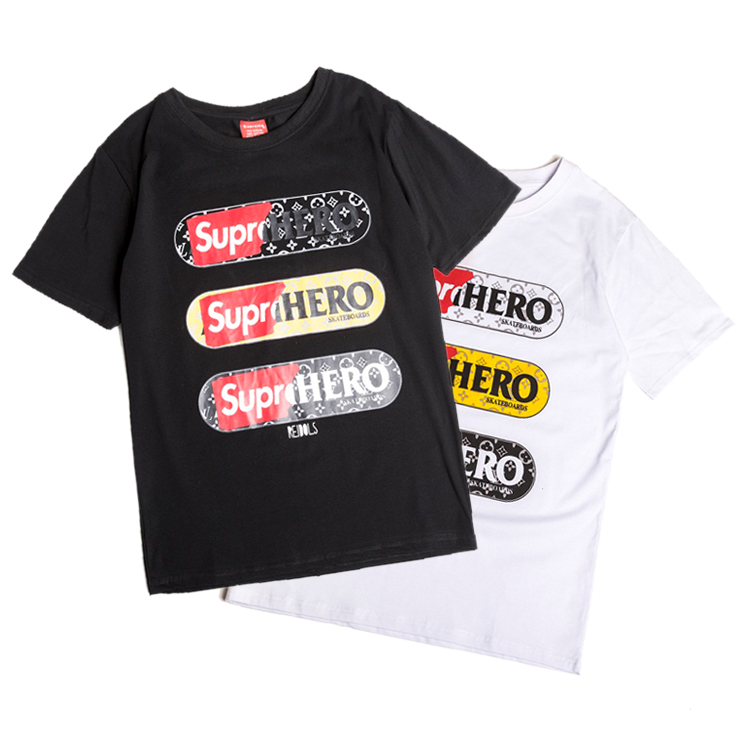 Supreme x Louis Vuitton Hero Skateboards Tシャツ 2色