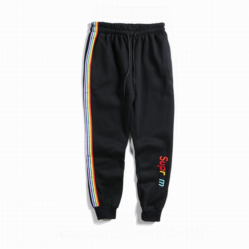 Supreme X Champion Rainbow Side Stripe Sport パンツ ブラック