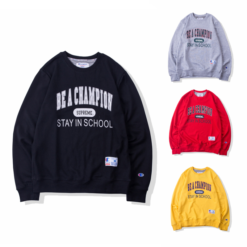 18SS Supreme X Champion Stay In School クルーネック 4色