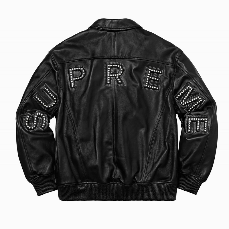 18SS Supreme Studded Arc Logo Leather ジャケット ブラック