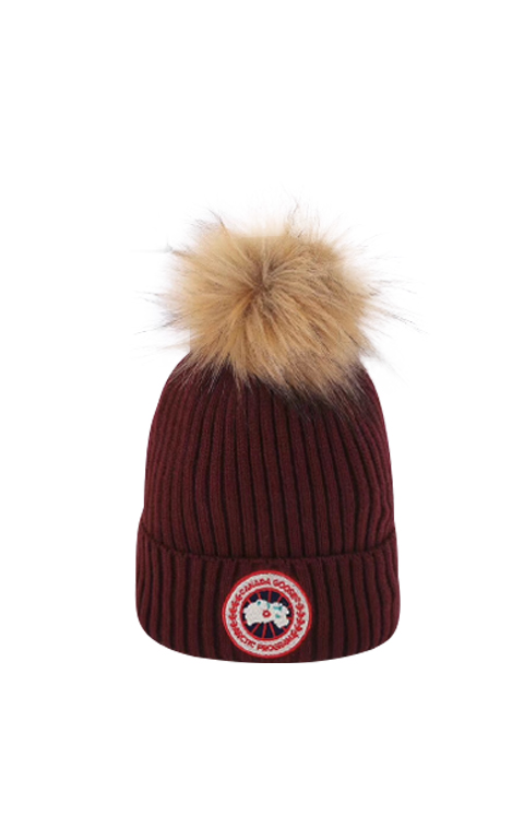 カナダグース レディース ハット Canada Goose Women's Pom Hat Big Logo Red